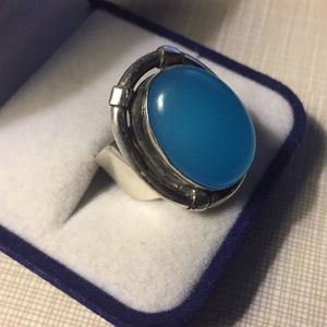 NEW Beautiful blue chalcedony ring
